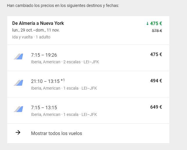 Precio vuelos google flight. 475 euros ida y vuelta Almeria-New York