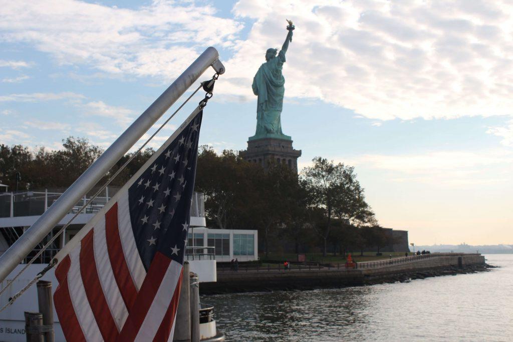 Estatua de la libertad desde el ferry. Liberty island