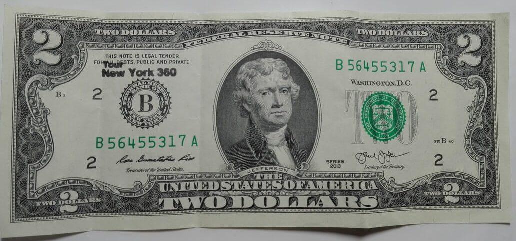 Billete de dos Dólares estadounidenses