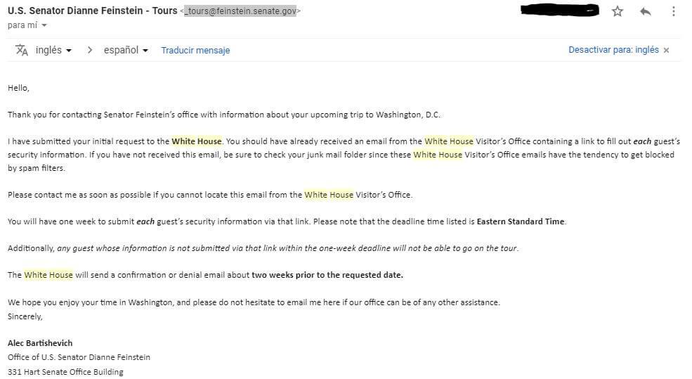 respuesta email senadora