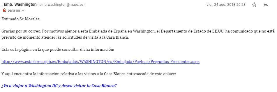 Email respuesta embajada española