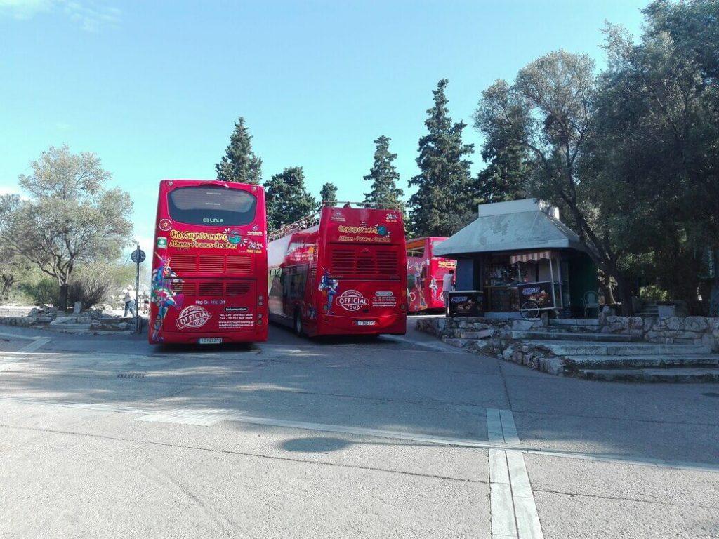 autobuses quiosco Camino areopagitou