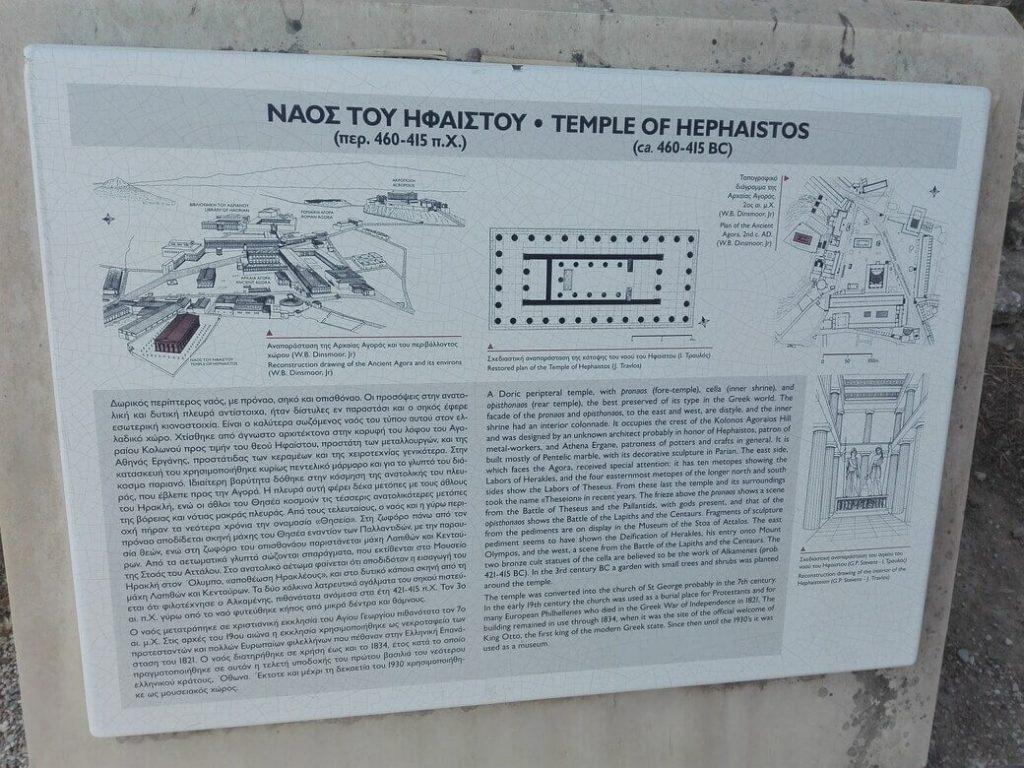 Cartel informativo templo de hefesto