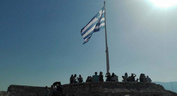 Bandera griega acropolis
